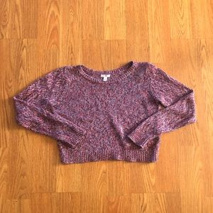 Pink Marled Cropped Sweater